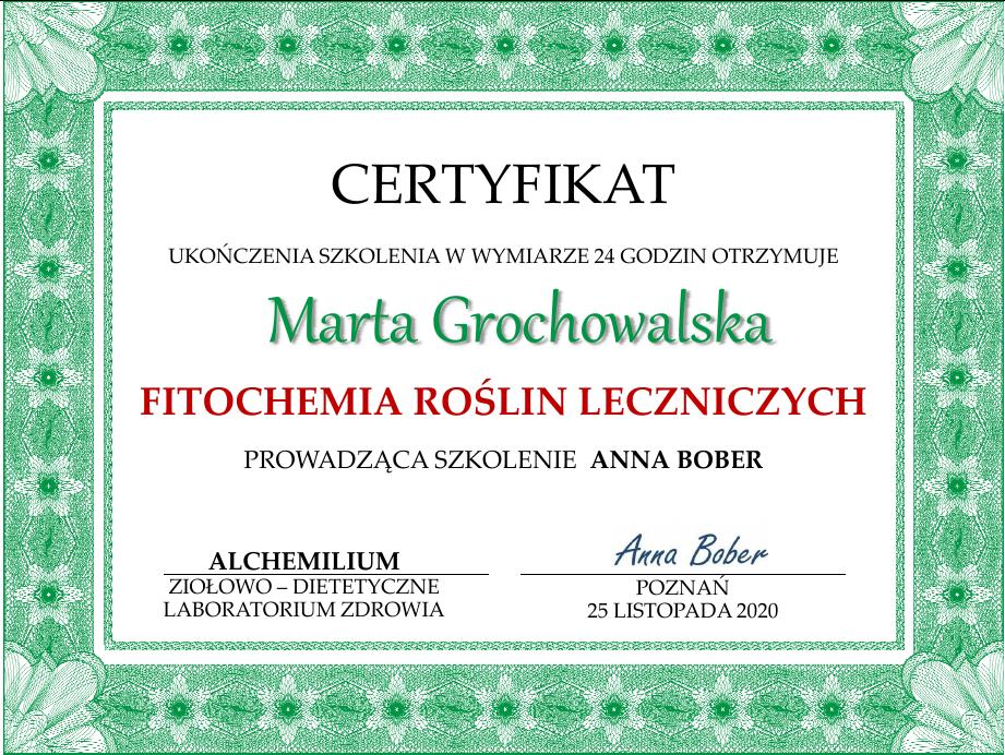 certyfikat ukończenia kursu fitochemii w Alchemilium