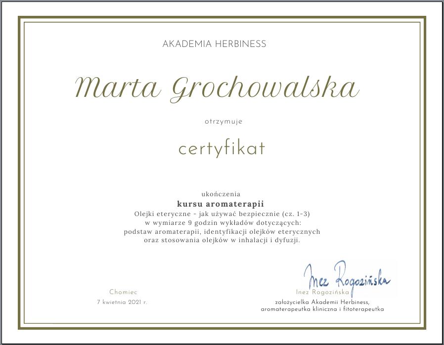 Akademia Herbiness certyfikat ukończenia kursu