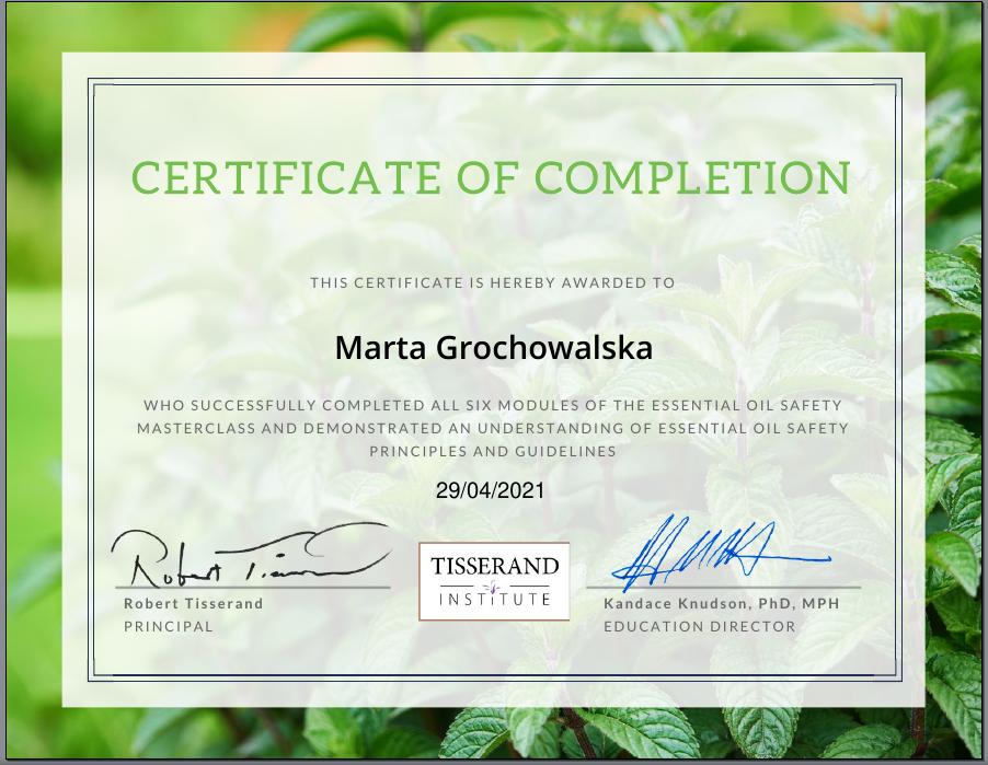 certyfikat ukończenia kursu bezpieczeństwa w Tisserand Institute