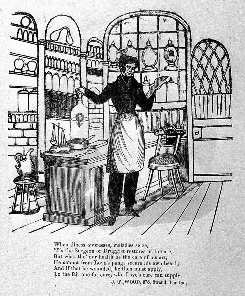 farmaceuta w dawnej aptece przygotowujący lek